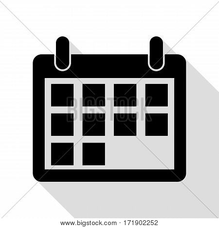 Calendar sign illustration. Black icon with flat style shadow path.