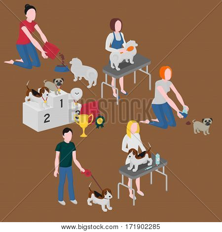 Isometric set of dog care. Pet owner feeding walking and cleaning. Veterinary and grooming. Doggy competition winners. Pug spitz and beagle
