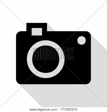 Digital camera sign. Black icon with flat style shadow path.
