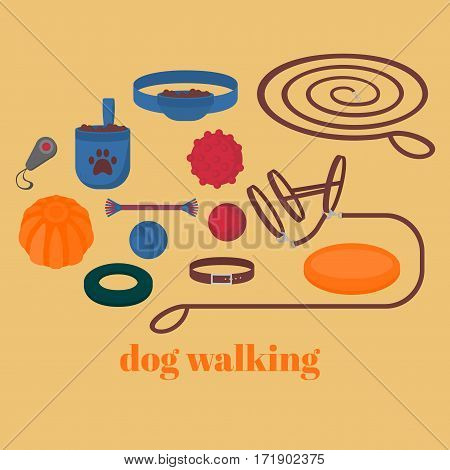 Dog walking elements. Flat isolated set pet walk items. Doggy training icons collar leash and headstall. Play objects ball liker puller and frisbee treat and cord.