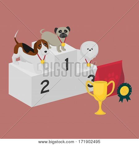 Winner pedestal. Puppy wining a dog show, pet on the first place. Gold trophy Cup on prize podium. Award ceremony animal, doggy champion medal, competition platform