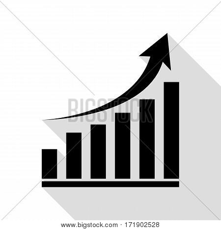 Growing graph sign. Black icon with flat style shadow path.