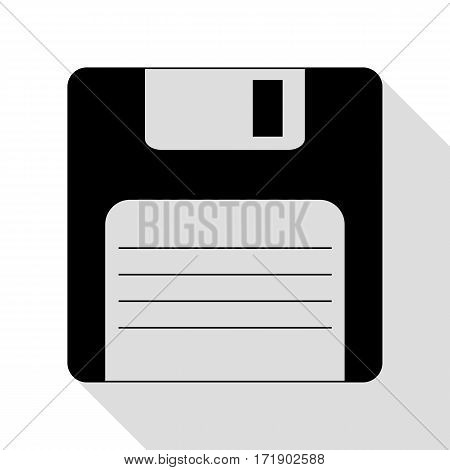 Floppy disk sign. Black icon with flat style shadow path.