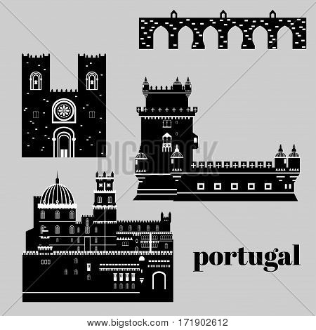Travel landmark Portugal elements. Flat architecture and building icons Tower Belem, Sintra castle Pena Palace, aqueduct of freedom name Aguas libre and Cathedral of Lisbon. National portuguese symbol