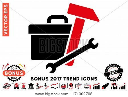 Intensive Red And Black Toolbox icon with bonus 2017 year trend images. Vector illustration style is flat iconic bicolor symbols white background.