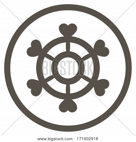 Lovely Boat Steering Wheel rounded icon. Vector illustration style is flat iconic bicolor symbol inside circle grey and cyan colors white background.