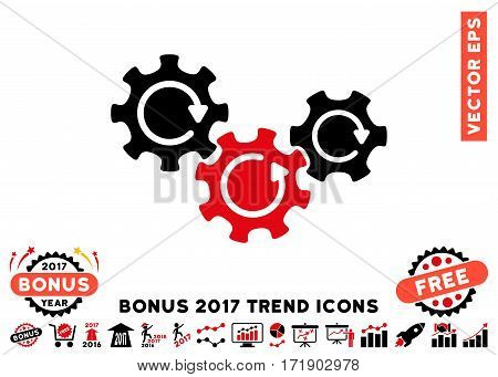 Intensive Red And Black Transmission Gears Rotation pictogram with bonus 2017 trend pictograph collection. Vector illustration style is flat iconic bicolor symbols white background.