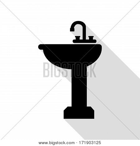 Bathroom sink sign. Black icon with flat style shadow path.