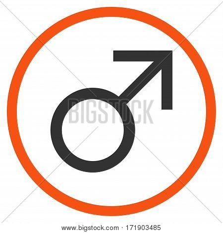 Mars Male Symbol rounded icon. Vector illustration style is flat iconic bicolor symbol inside circle orange and gray colors white background.