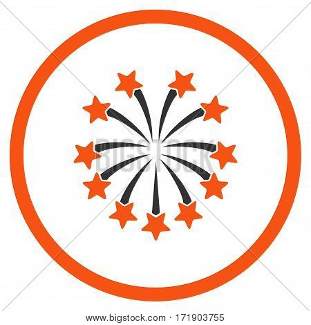 Spherical Fireworks rounded icon. Vector illustration style is flat iconic bicolor symbol inside circle orange and gray colors white background.