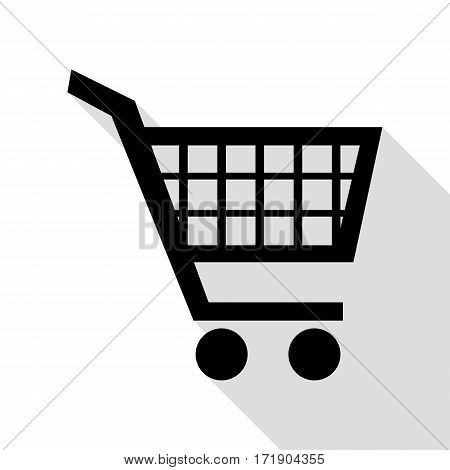 Shopping cart sign. Black icon with flat style shadow path.