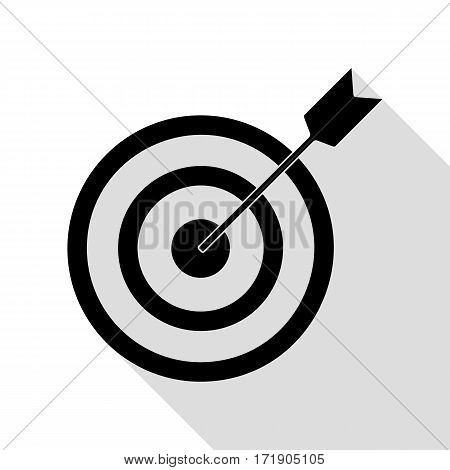 Target with dart. Black icon with flat style shadow path.
