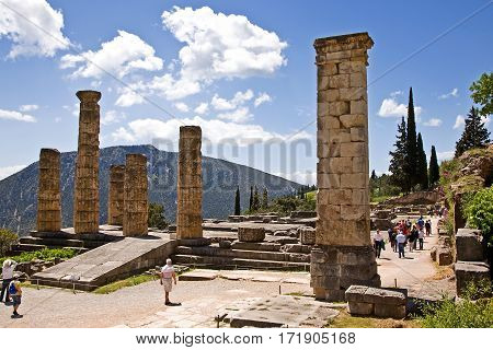 Sanctuary of Apollo at Delphi, Greece. An ancient, sacred temple. Sits on the side of Parnassos mountain.