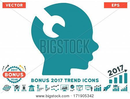 Soft Blue Brain Wrench Tool pictogram with bonus 2017 year trend symbols. Vector illustration style is flat iconic bicolor symbols white background.