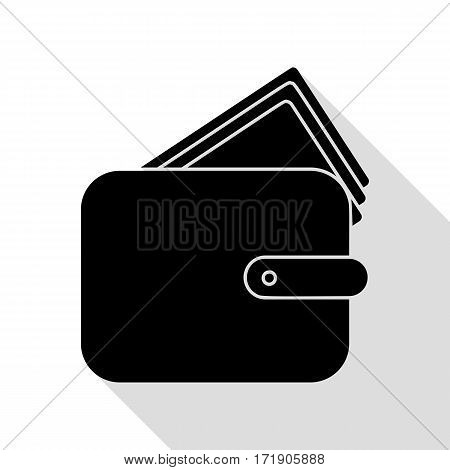 Wallet sign illustration. Black icon with flat style shadow path.