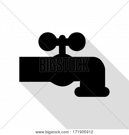 Water faucet sign illustration. Black icon with flat style shadow path.