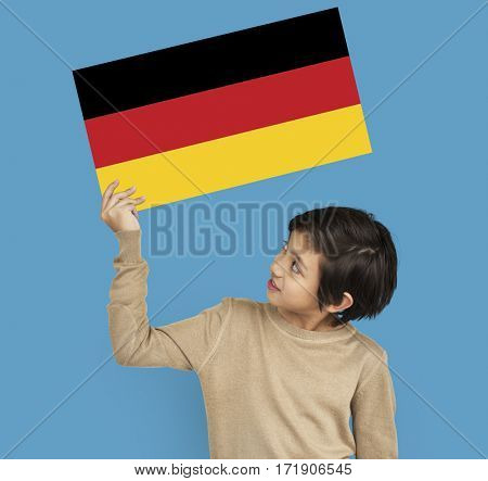 Boy Hands Hold Germany Deutschland Flag Patriotism