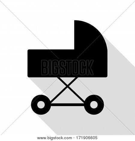 Pram sign illustration. Black icon with flat style shadow path.