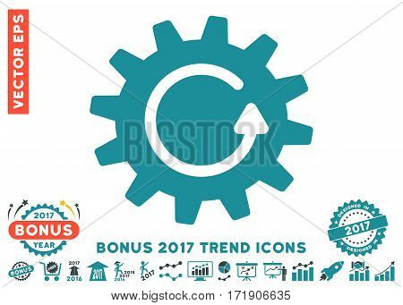 Soft Blue Cogwheel Rotation pictograph with bonus 2017 trend images. Vector illustration style is flat iconic bicolor symbols white background.