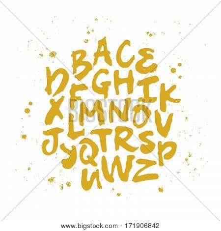 Vector alphabet. Hand drawn letters. Gold on white background