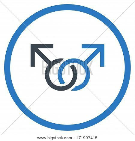 Gay Love Symbol rounded icon. Vector illustration style is flat iconic bicolor symbol inside circle, smooth blue colors, white background.