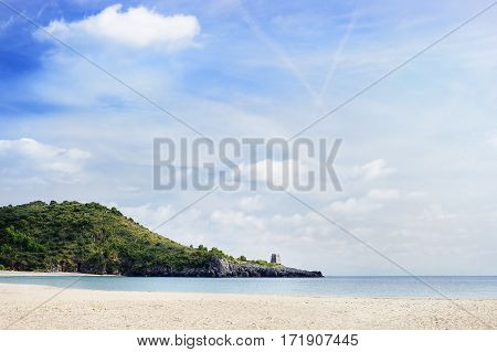 Coast of Tyrrhenian sea. Beach of Marina di Camerota, Italy
