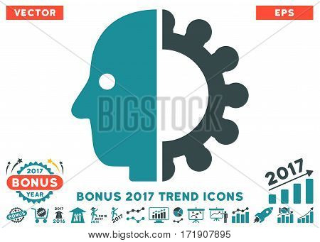 Soft Blue Cyborg Head pictograph with bonus 2017 trend elements. Vector illustration style is flat iconic bicolor symbols white background.