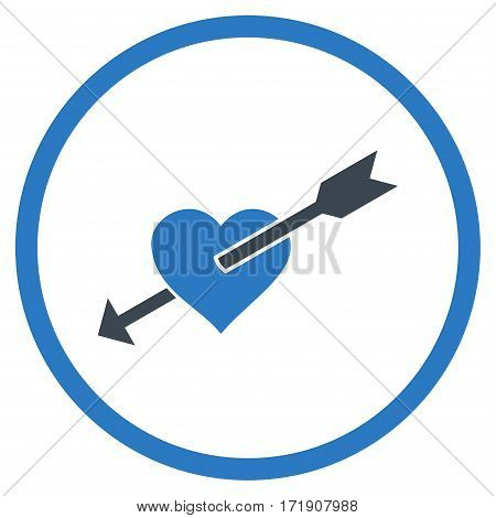 Heart Arrow rounded icon. Vector illustration style is flat iconic bicolor symbol inside circle, smooth blue colors, white background.