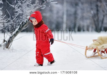 Little Boy In Red Winter Clothes With Toboggan
