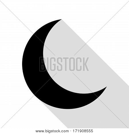 Moon sign illustration. Black icon with flat style shadow path.