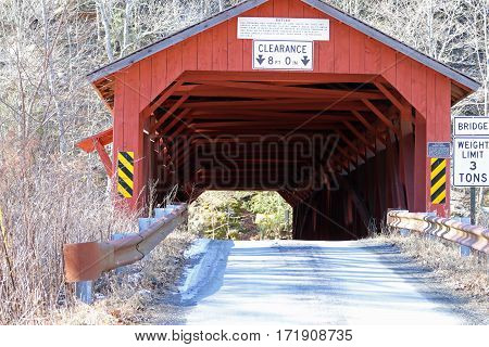 One of the few remaining burr truss covered bridges built by Sadler S. Rogers in the 1850's.