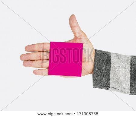 Man Hand Holding Sticky Pad