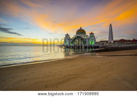 Sunset view from Malacca Straits Mosque .