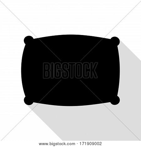 Pillow sign illustration. Black icon with flat style shadow path.