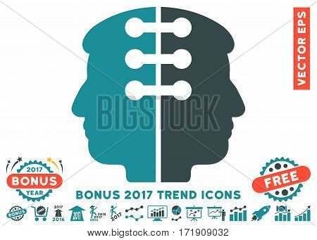 Soft Blue Dual Head Interface pictogram with bonus 2017 trend pictograms. Vector illustration style is flat iconic bicolor symbols white background.