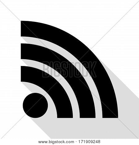 RSS sign illustration. Black icon with flat style shadow path.