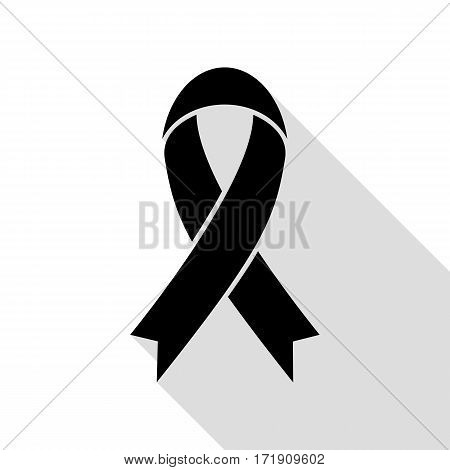 Black awareness ribbon sign. Black icon with flat style shadow path.