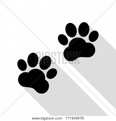 Animal Tracks sign. Black icon with flat style shadow path.