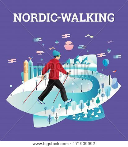Vector illustrated card with Nordic Walking. The flat illustration of man hiking in winter city.