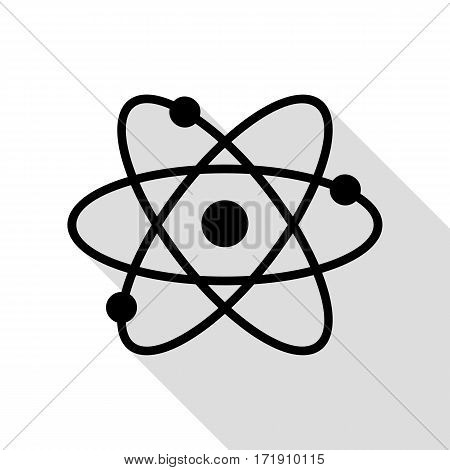 Atom sign illustration. Black icon with flat style shadow path.