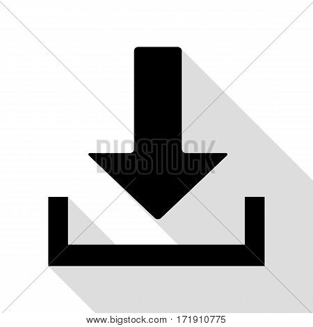 Download sign illustration. Black icon with flat style shadow path.