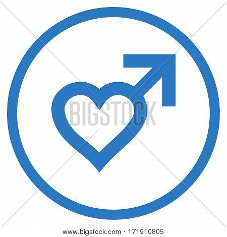 Male Heart rounded icon. Vector illustration style is flat iconic bicolor symbol inside circle, smooth blue colors, white background.