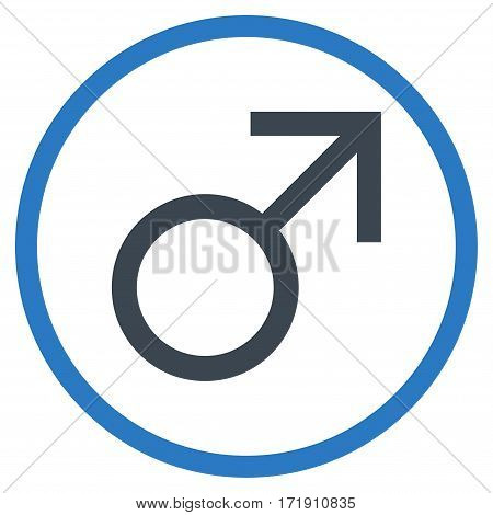 Mars Male Symbol rounded icon. Vector illustration style is flat iconic bicolor symbol inside circle, smooth blue colors, white background.