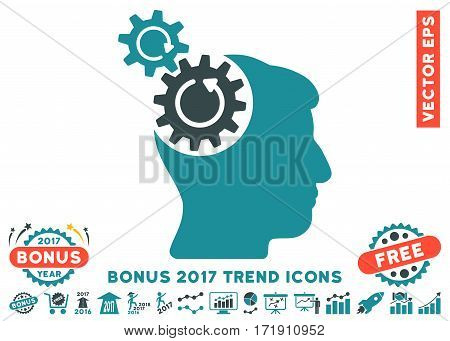 Soft Blue Head Cogs Rotation icon with bonus 2017 trend clip art. Vector illustration style is flat iconic bicolor symbols white background.