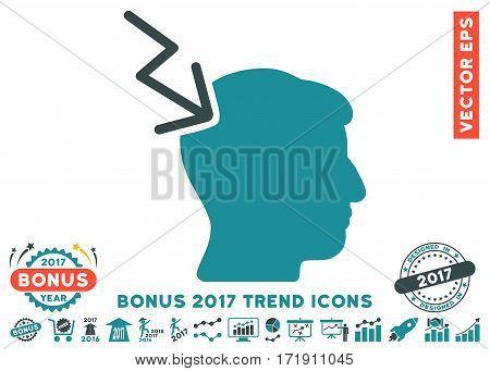 Soft Blue Head Electric Strike icon with bonus 2017 year trend symbols. Vector illustration style is flat iconic bicolor symbols white background.