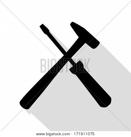 Tools sign illustration. Black icon with flat style shadow path.