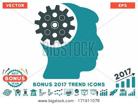 Soft Blue Head Gear pictogram with bonus 2017 trend pictograph collection. Vector illustration style is flat iconic bicolor symbols white background.