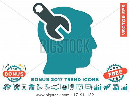 Soft Blue Head Neurology Wrench icon with bonus 2017 trend pictograph collection. Vector illustration style is flat iconic bicolor symbols white background.