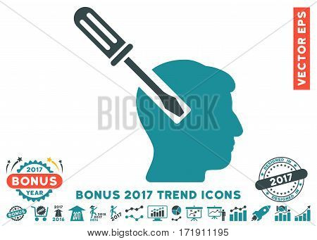 Soft Blue Head Screwdriver Tuning pictograph with bonus 2017 year trend clip art. Vector illustration style is flat iconic bicolor symbols white background.