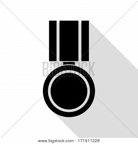 Medal sign illustration. Black icon with flat style shadow path.